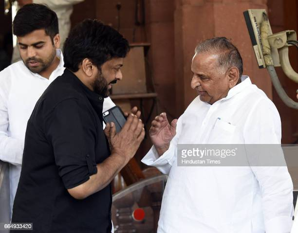 Film actor and Rajya Sabha MP Chiranjeevi with Samajwadi Party Leader Mulayam Singh Yadav attending the Parliament Budget Session on April 5 2017 in...