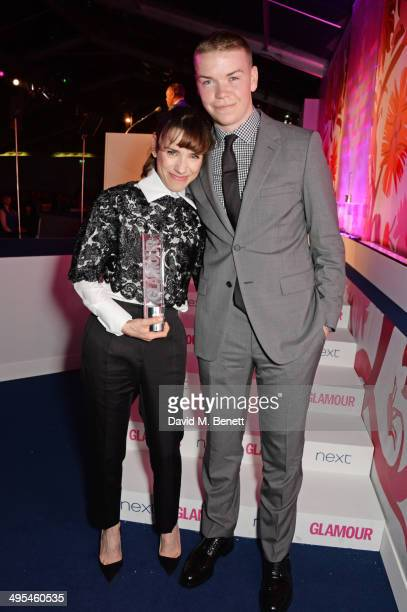 Film Actress award winner Sally Hawkins and presenter Will Poulter pose at the Glamour Women of the Year Awards in Berkeley Square Gardens on June 3...