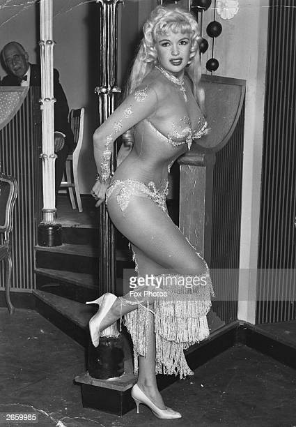 Film actress Jayne Mansfield taken on an English film set at Boreham Wood studios