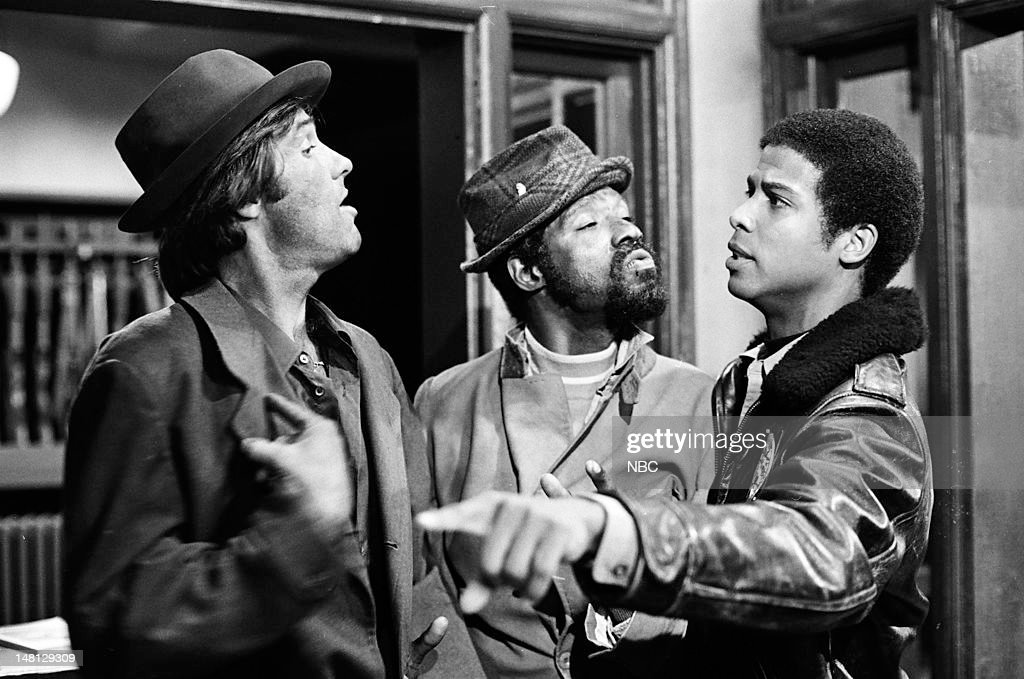 BLUES -- 'Film at Eleven' Episode 106 -- Pictured: (l-r) Kiel Martin as Det. Johnny 'J.D.' LaRue, Taurean Blacque as Det. Neal Washington, Michael Warren as Officer Bobby Hill --