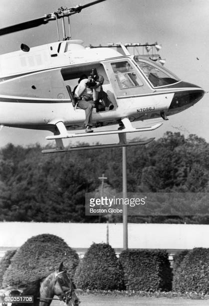 A film crew hovers over Silk Stocking at Rockingham Park Racetrack in Salem NH on June 5 1977