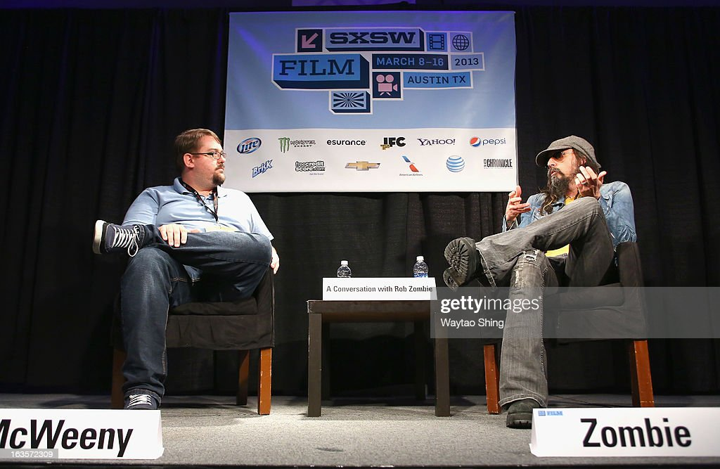 Film Critic Drew McWeeny and musician Rob Zombie speak onstage at A Conversation With Rob Zombie Panel during the 2013 SXSW Music, Film + Interactive Festival at Austin Convention Center on March 12, 2013 in Austin, Texas.
