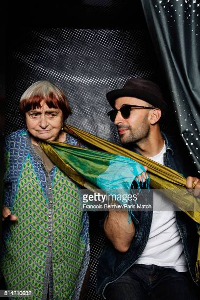 Film director Agnes Varda and artist JR is photographed for Paris Match on May 15 2017 in Paris France