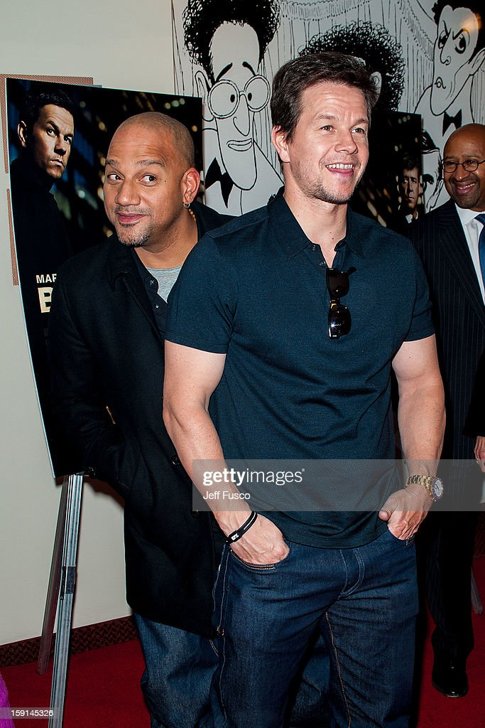 Film director Allen Hughes (L) and <a gi-track='captionPersonalityLinkClicked' href=/galleries/search?phrase=Mark+Wahlberg&family=editorial&specificpeople=202265 ng-click='$event.stopPropagation()'>Mark Wahlberg</a> attend the Philadelphia screening of the movie 'Broken City' at the Prince Music Theater January 8, 2013 in Philadelphia, Pennsylvania.