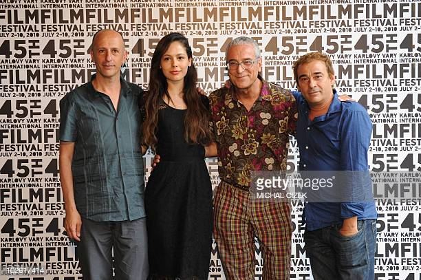 Film director August Vila film actress Martina Garcia film producer Luis Minarro and film actor Eduard Fernandez all from Spain pose for...