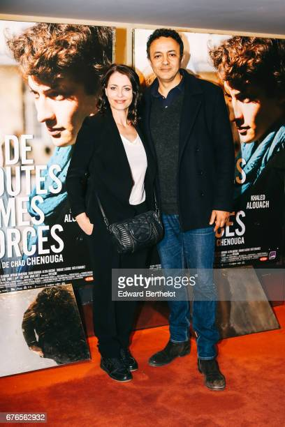 Film director Chad Chenouga and his wife during the 'De Toutes Mes Forces' Paris Premiere photocall at UGC Cine Cite des Halles on May 2 2017 in...