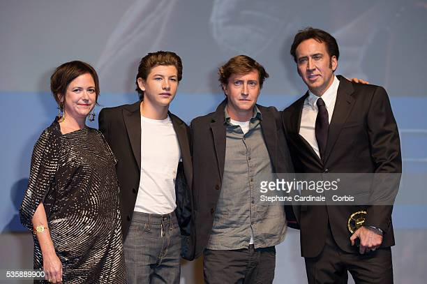 US film director David Gordon US actors Tye Sheridan Nicolas Cage and US producer Lisa Muskat attend the premiere of the movie 'Joe' during the 39th...