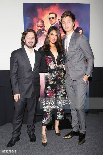 Film director Edgar Wright actress Eiza Gonzalez and actor Ansel Elgort attend the 'Baby Driver' Mexico City premier at Cinemex Antara Polanco on...