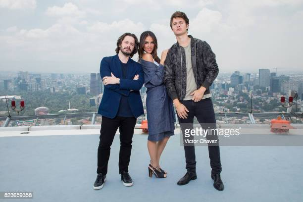 Film director Edgar Wright Eiza Gonzalez and actor Ansel Elgort attend a photocall to promote the film 'Baby Driver' at St Regis Hotel heliport on...