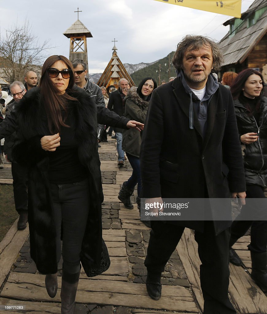 Film director <a gi-track='captionPersonalityLinkClicked' href=/galleries/search?phrase=Emir+Kusturica&family=editorial&specificpeople=210555 ng-click='$event.stopPropagation()'>Emir Kusturica</a> (R) and Italian actress <a gi-track='captionPersonalityLinkClicked' href=/galleries/search?phrase=Monica+Bellucci&family=editorial&specificpeople=204777 ng-click='$event.stopPropagation()'>Monica Bellucci</a> (L) attend day 3 of the Kustendorf Film Festival on January 20, 2013 in Drvengrad, Serbia.