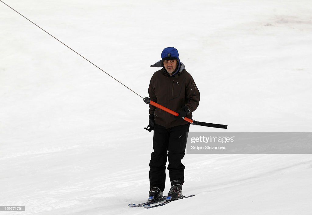 Film director Emir Kusturica skiing during day 3 of the Kustendorf Film Festival on January 20, 2013 in Drvengrad, Serbia.