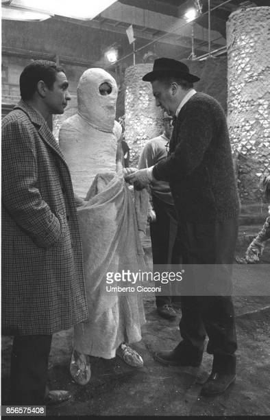 Film director Federico Fellini with the famous director of photography Giuseppe Rotunno working on the movie 'Satyricon' at Cinecittà Studios Rome...