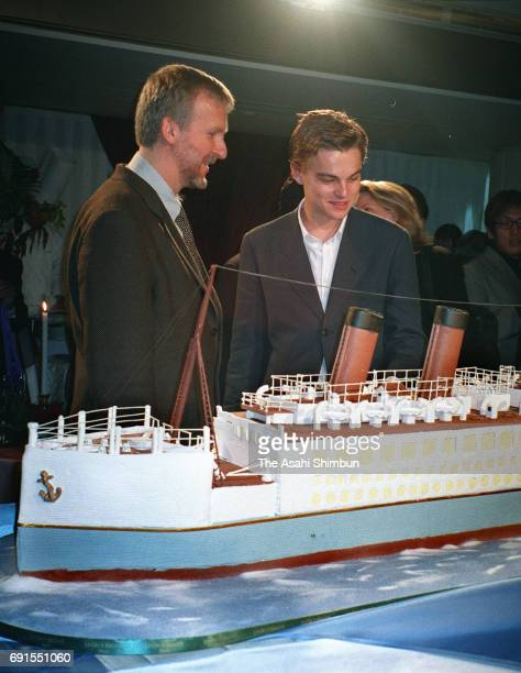 Film director James Cameron and actor Leonardo DiCaprio attend the 'Titanic' Japan Premiere at Bunkamura Orchard Hall on November 1 1997 in Tokyo...