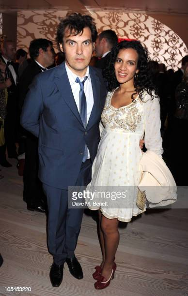 Film Director Joe Wright and new wife musician Anoushka Shankar attend the Never Let Me Go Afterparty at the Saatchi Gallery on October 13 2010 in...
