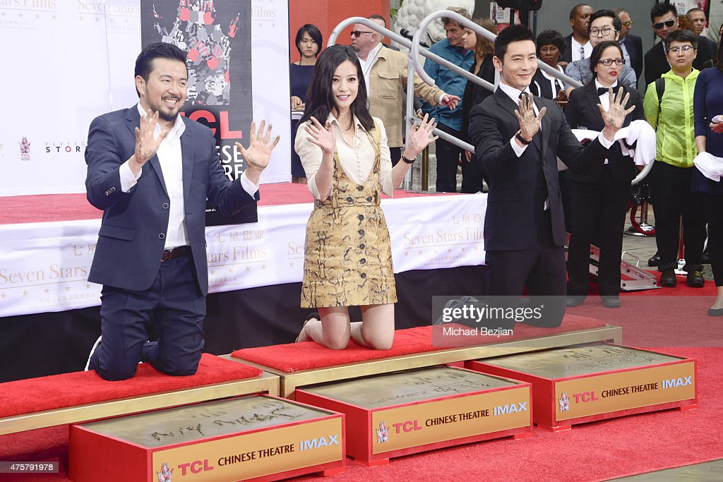 Bruno Wu and Seven Stars Entertainment Sponsor TCL Chinese Theatre Handprints For Director Justin Lin And Chinese Stars Zhao Wei And Huang Xiaoming
