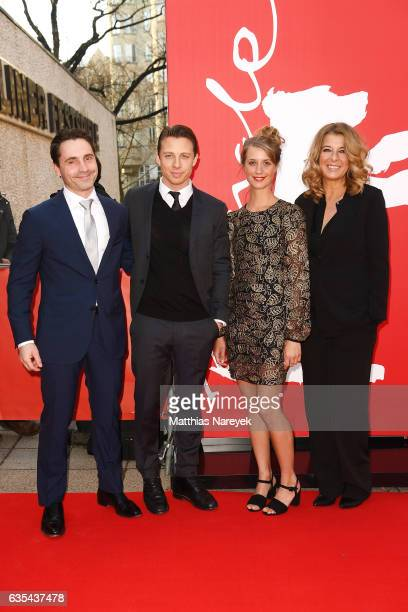 Film director Kasper Barfoed actors Johannes Lassen Sara Hjort Ditlevsen and Paprika Steen attend the 'Below The Surface' premiere during the 67th...