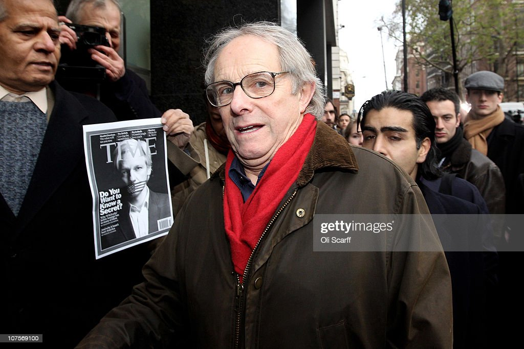Film director <a gi-track='captionPersonalityLinkClicked' href=/galleries/search?phrase=Ken+Loach&family=editorial&specificpeople=233467 ng-click='$event.stopPropagation()'>Ken Loach</a> arrives at Westminster Magistrates court as Wikileaks founder <a gi-track='captionPersonalityLinkClicked' href=/galleries/search?phrase=Julian+Assange&family=editorial&specificpeople=7117000 ng-click='$event.stopPropagation()'>Julian Assange</a> appeals for bail on December 14, 2010 in London, England. Mr Assange is expected to seek bail during his extradition hearings.