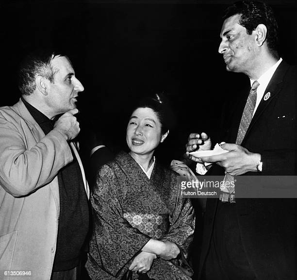 Film director Lindsay Anderson Madame Kawakita and Satyajit Ray at a reception given by the Indian Documentary Producers' Association at the Third...