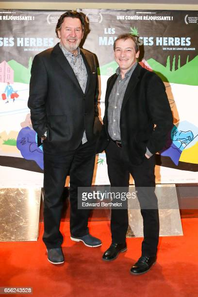 Film Director Louis Belanger and actor Gilles Renaud attend the 'Les Mauvaises Herbes' Paris Premiere photocall at UGC Cine Cite des Halles on March...