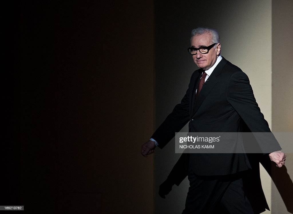 "US film director Martin Scorsese leaves after delivering the 2013 Jefferson Lecture in the Humanities entitled ""Persistence of Vision: Reading the Language of Cinema"" at the Kennedy Center in Washington on April 1, 2013. AFP PHOTO/Nicholas KAMM"