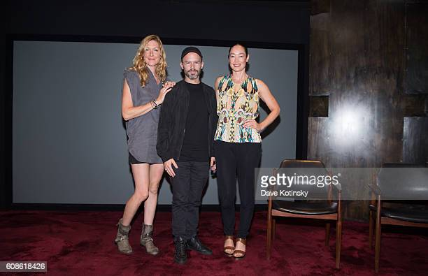Film Director Megan Raney Erins Artist Daniel Arsham and Cecilia Dean attends the Daniel Arsham 'Colorblind Artist In Full Color' at Spring Place on...