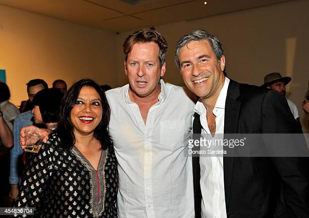 Film director Mira Nair artist Doug Aitken and LACMA Director Michael Govan attend the Doug Aitken Still Life Opening Reception and Dinner at Regen...