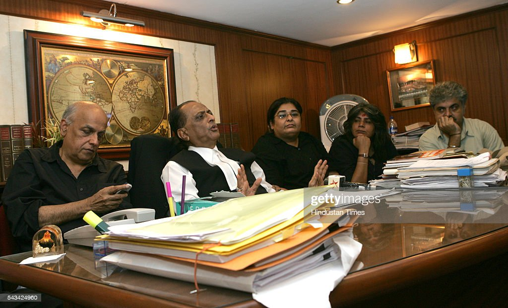 Film Director & Producer Mahesh Bhatt, Advocate Majeed Memon, Vineeta Nanda, Nutan Bajaj and Ashok Pandit talking to the media persons after submitting the PIL at Mumbai High Court on August 3, 2016 in Mumbai, India.