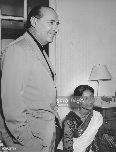 Film director Roberto Rossellini and writer Sonali Das Gupta pictured in the Carlton Hotel as they attend the Cannes Film Festival France May 1959
