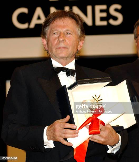Film Director Roman Polanski with the Palme d'Or he received for his film 'The Pianist' in the Palais des Festival at the 55th Cannes Film Festival