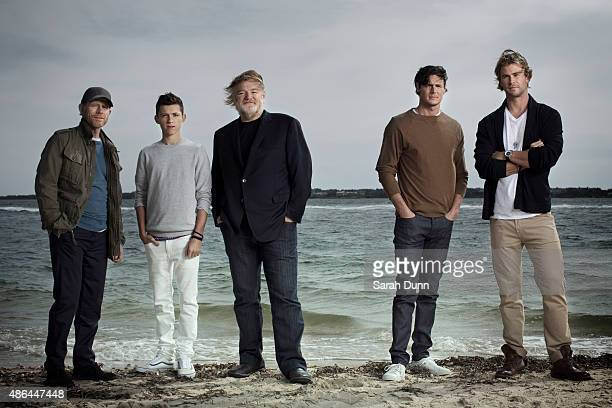 Film director Ron Howard with actors Tom Holland Brendan Gleeson Benjamin Walker and Chris Hemsworth are photographed for Entertainment Weekly...