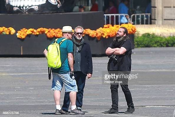 Film director Sam Mendes and cinematographer Hoyte Van Hoytema talk during the filming of the latest James Bond movie 'Spectre' at downtown streets...