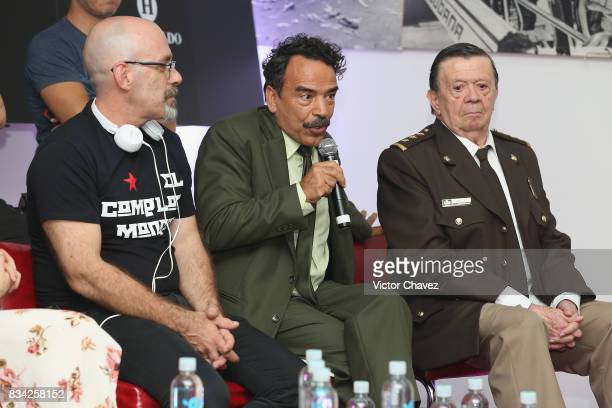 Film director Sebastian del Amo Damian Alcazar and Xavier Lopez 'Chabelo' attend a press conference and photocall to promote the film 'El Complot...