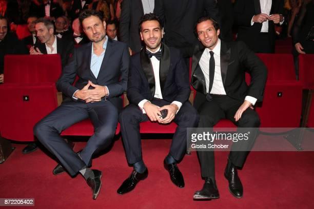 Film director Simon Verhoeven actor Elyas M Barek and film director Quirin Berg arrives for the GQ Men of the year Award 2017 at Komische Oper on...