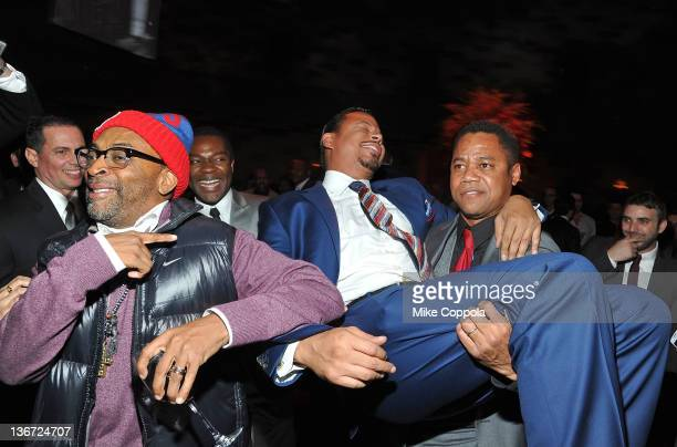 Film director Spike Lee actor Terrence Howard and Cuba Gooding Jr attend the 'Red Tails' premiere after party at Gotham Hall on January 10 2012 in...