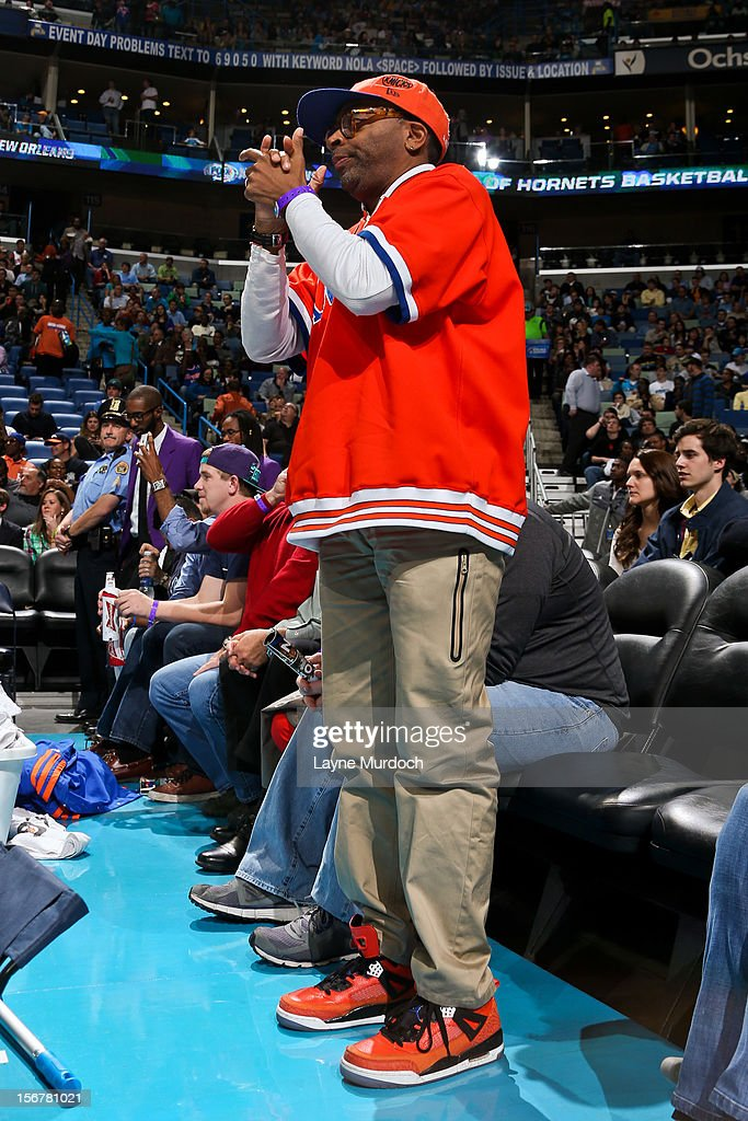 Film director Spike Lee attends a game between the New York Knicks and New Orleans Hornets on November 20, 2012 at the New Orleans Arena in New Orleans, Louisiana.