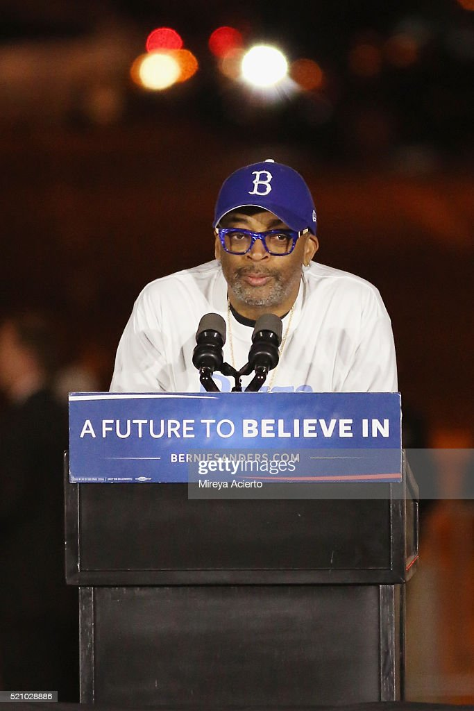 Film director Spike Lee attends the Bernie Sanders rally in Washington Square Park on April 13, 2016 in New York City.