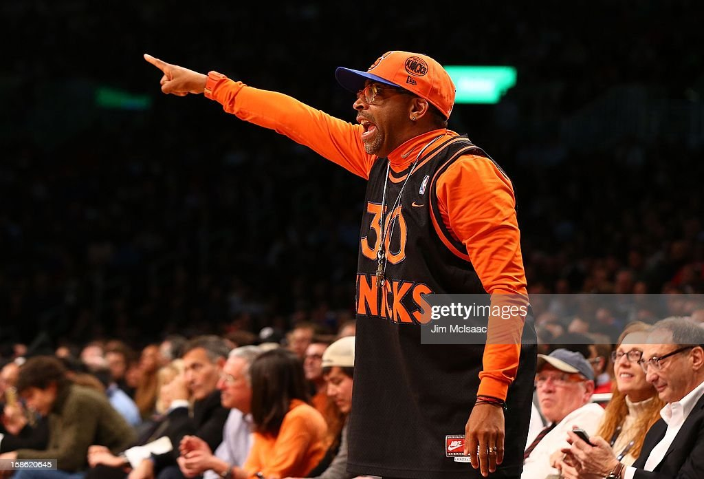 Film director Spike Lee attends the NBA game between the Brooklyn Nets and the New York Knicks at Barclays Center on December 11, 2012 in the Brooklyn borough of New York City.The Knicks defeated the Nets 100-97.