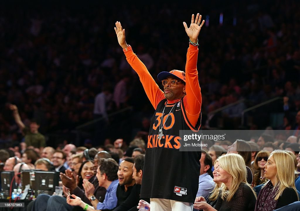 Film director Spike Lee attends the NBA game between the New York Knicks and the Los Angeles Lakers at Madison Square Garden on December 13, 2012 in New York City. The Knicks defeated the Lakers 116-107.