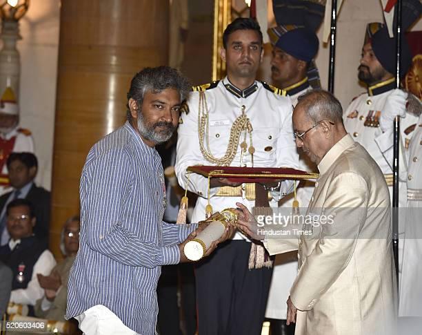 Film Director SS Rajamouli receiving Padma Shri award from President Pranab Mukherjee during Civil Investiture Ceremony at Rashtrapati Bhawan on...