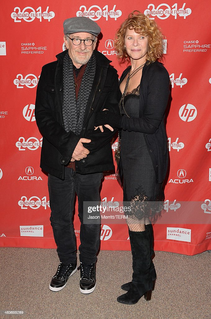 Film Director Steven Spielberg and Kate Capshaw attend the premiere of 'Young Ones' at the Eccles Center Theatre during the 2014 Sundance Film Festival on January 18, 2014 in Park City, Utah.