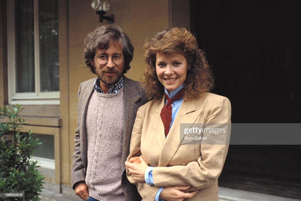 Film director Steven Spielberg left and Actress Kate Capshaw pose for a photograph to promote their new film 'Indiana Jones and the Temple of Doom'...