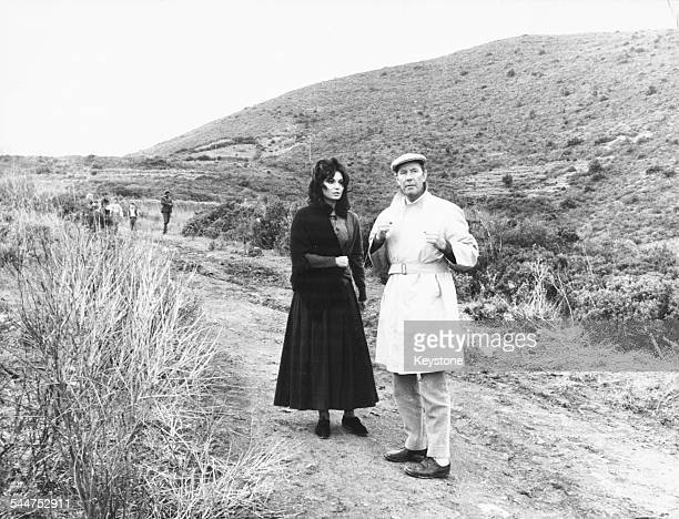 Film director Terence Young with a actress Rosanna Schiaffino on the set of the film 'The Rover' on location in Elba circa 1967