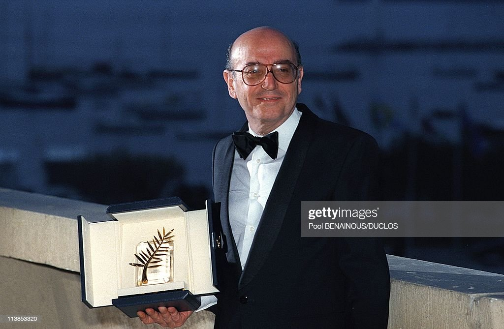 Film director Theo Angelopoulos Golden palm for the film 'Eternity And A Day' at Cannes Film Festival in Cannes France on May 24 1998