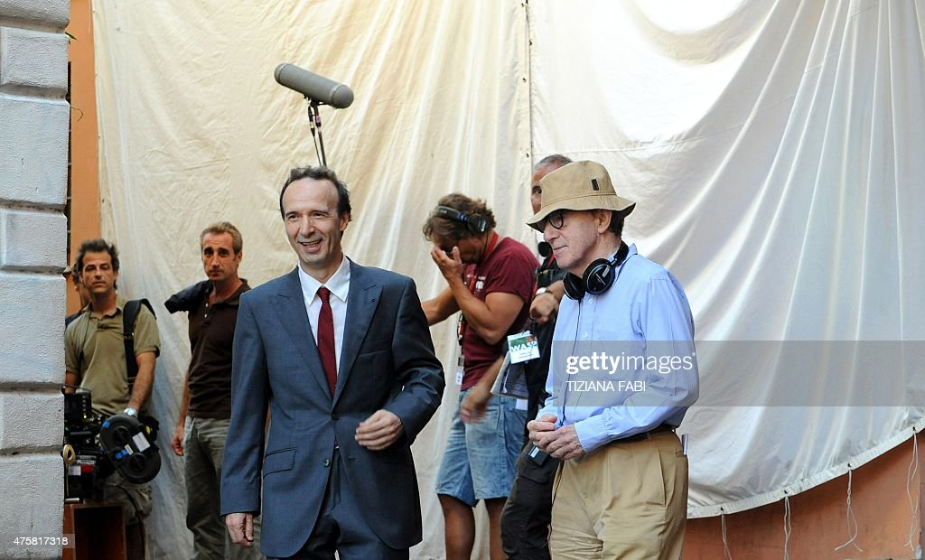 US film director Woody Allen and Italian actordirector Roberto Benigni are seen on the set of 'Bop Decameron' at StMaria in Trastevere square in...