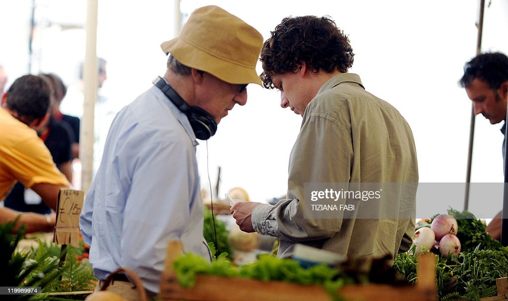 US film director Woody Allen approaches US actor Jesse Eisenberg on the set of 'Bop Decameron' the cult filmmaker's latest production at Campo de'...