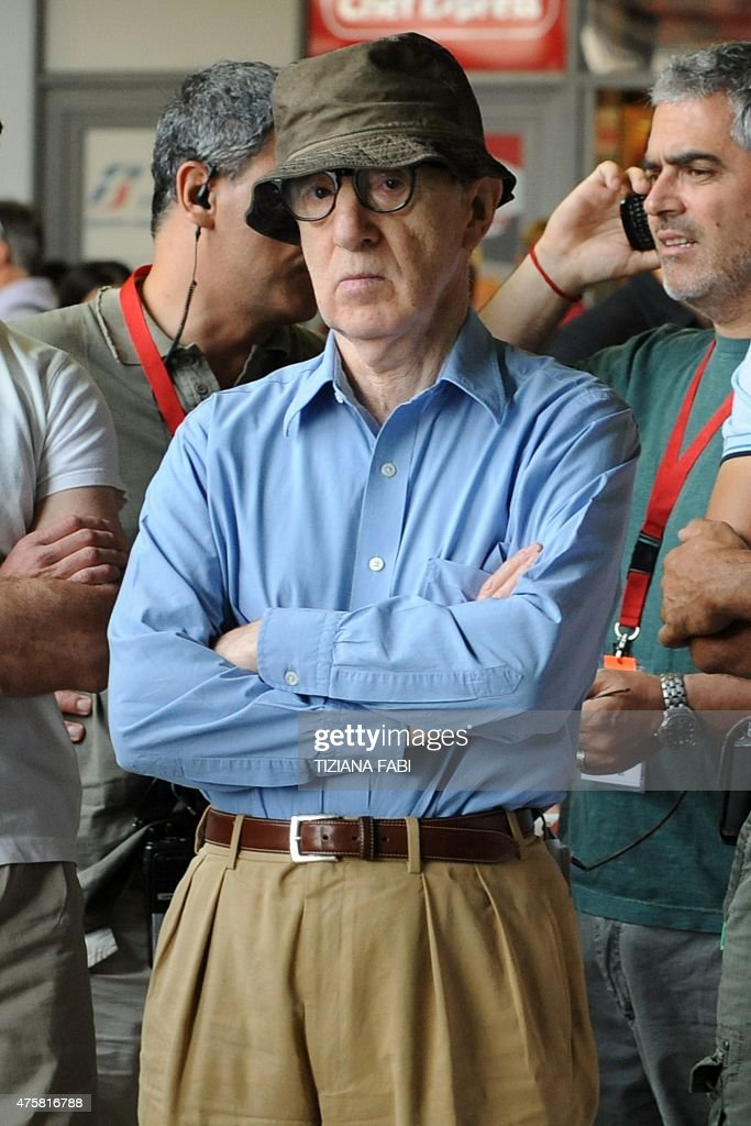 US film director Woody Allen reacts on the set of his new film The Bop Decameron at Rome's Termini train station on July 14 2011 The movie being shot...