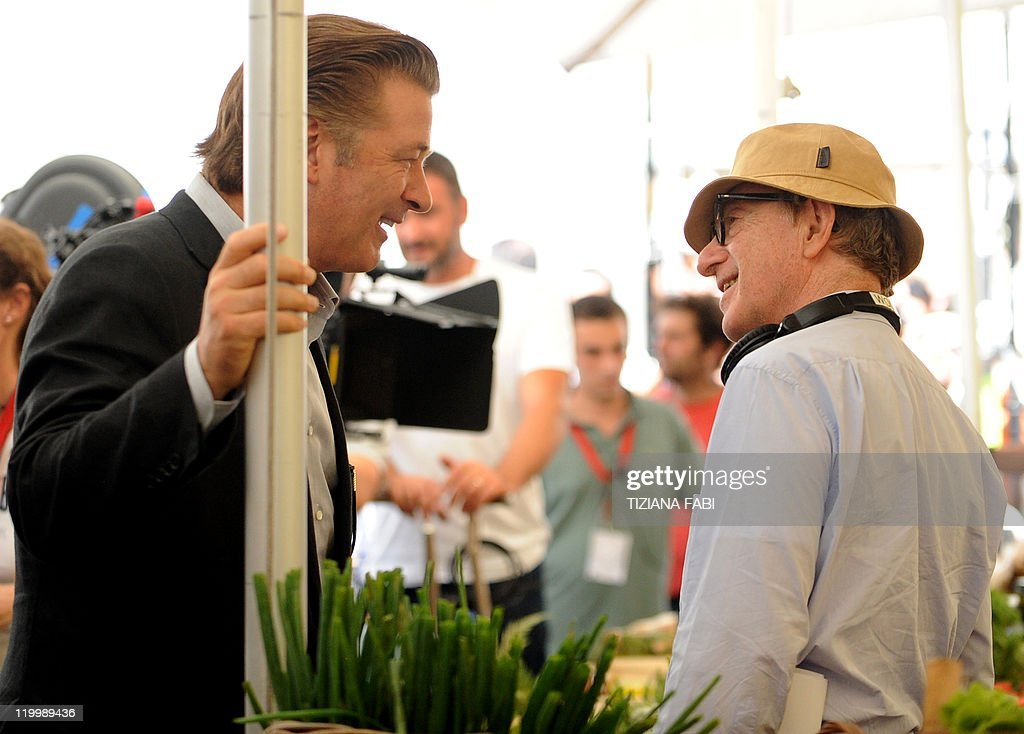 US film director Woody Allen speaks to US actor Alec Baldwin on the set of 'Bop Decameron' the cult filmmaker's latest production at Campo de' Fiori...