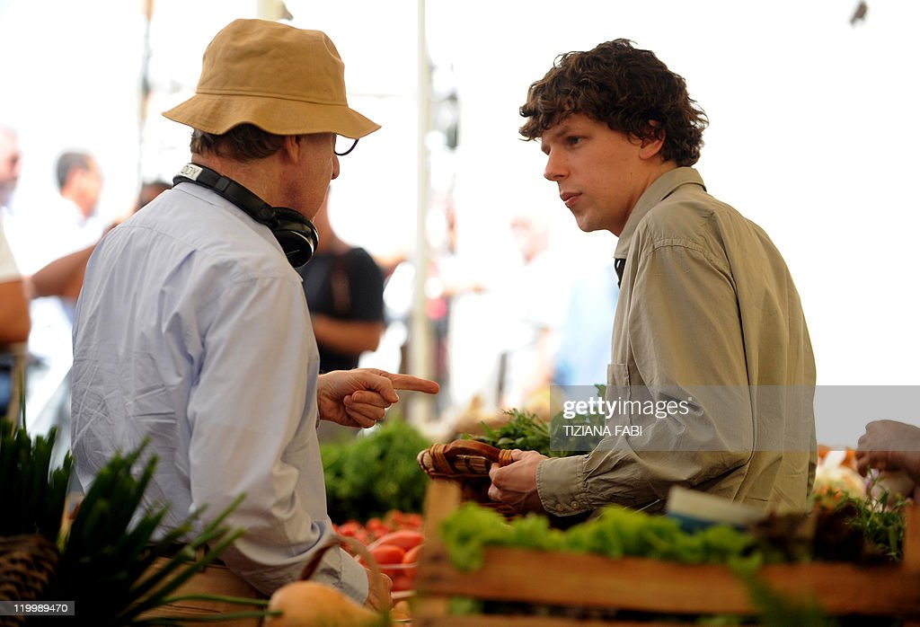 US film director Woody Allen speaks to US actor Jesse Eisenberg on the set of 'Bop Decameron' the cult filmmaker's latest production at Campo de'...