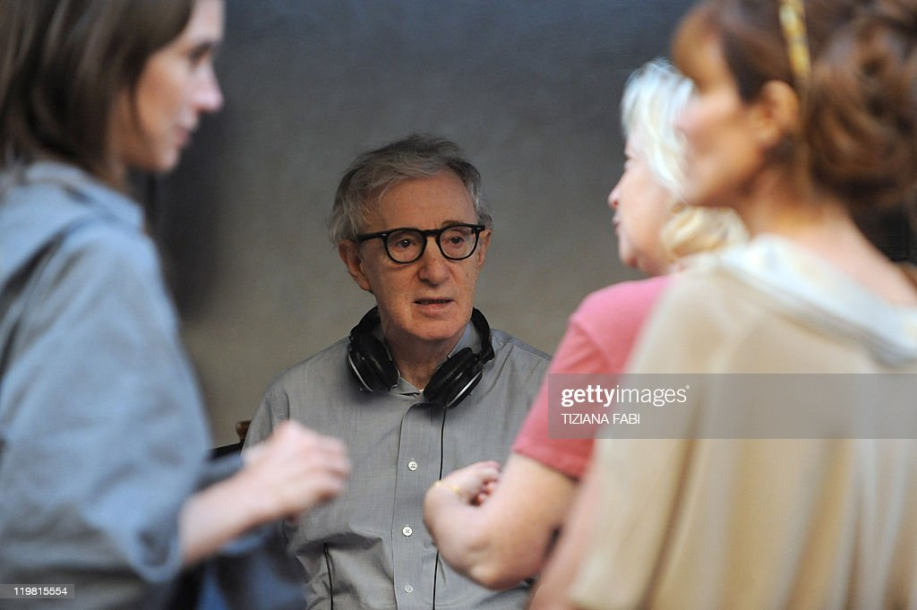US film director Woody Allen stands at Piazza della Pace in central Rome during the filming of his new movie The Bop Decameron on July 25 2011 'Bop...