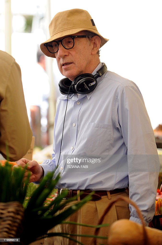 US film director Woody Allen stands on the set of 'Bop Decameron' the cult filmmaker's latest production at Campo de' Fiori square in central Rome on...